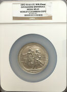 1892 Columbian Exposition Chicago Esposizione Universale Medal E-37 Ngc Ms63