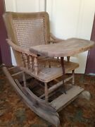 Vintage Adjustable Wooden Wood Childrenand039s Baby Toddler High Chair Rocking Chair