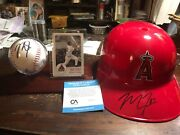 Mike Trout Autographed Authentic Angels Souvenir Helmet And Base Ball Coa On Both