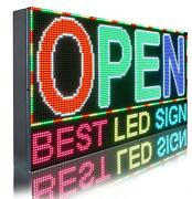 Wi-fi Mobile App Programmable Full Color 12 X 76 Led Sign Outdoor Open Display