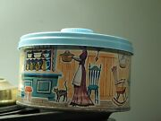 1950s-and03960s Mrs. Lelandand039s Old Fashioned Candies Round Metal Can Tins Lot Of 2