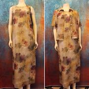 Lady Carol Of New York Womenand039s Size 10 Country Floral 2pc Summer Dress And Jacket