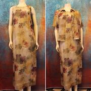 Lady Carol Of New York Women's Size 10 Country Floral 2pc Summer Dress And Jacket