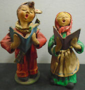 Vintage Paper Mache Singing Figurines Made In Italy Lot Of 2