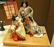 Vintage 2 Japanese Gofun Clay Dolls Diorama Scene On Wooden Base And Cover, Signed