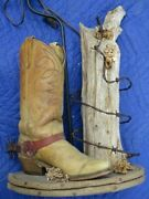 Vintage Cowboy Boot Lamp With Spur, Post, Barbed Wire