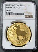 2015 P Gold Australia 100 Lunar Year Of The Goat Ngc Mint State 67