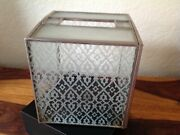 Vintage Frosted Glass And Leaded Metal Tissue Box Holder Cover 6 X 5 1/2 X 5 1/2