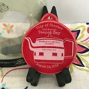 Fiestaware Scarlet 2nd Annual Teapot Day Ornament Fiesta Red 2016 Chester Wv