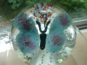 American Peter Gentile Butterfly Glass Paperweight, Morgantown Wv, 1950's
