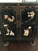 Carved Wood Detail Asian Cabinet W/side Carvings