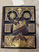 Antique Pictoral Family Holy Bible - Parallel Bible - 1800's Gold Gilt Cover