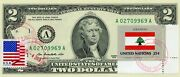 Us 2 Dollars 2013 Stamp Cancel Flag Of Un From Lebanon Lucky Money Value 125