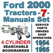 Ford 2000 4 Cylinder Tractor Service Parts Owners Manual -7- Manuals 1954-65 Cd