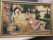 Antique Hand Woven Tapestry Man With Lyre And Woman By The Hellespont