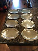 """8 Emilia Castillo Hand Pinged Silver Plated Plate / Tray Set - Size -11.5"""" X 9"""""""