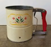 Vintage Androck Hand-i-sift Dual Flour Sifter Floral Tin 1950's Mid Century