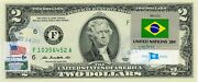 Us 2 Dollar 2013 Stamp Cancel Flag Of Un From Brazil Lucky Money Value 125