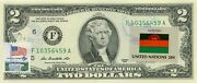 Us 2 Dollars 2013 Stamp Cancel Flag Of Un From Malawi Lucky Money Value 125