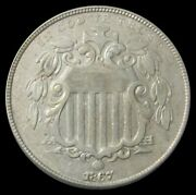 1867 No Ray Shield Nickel About Uncirculated Condition