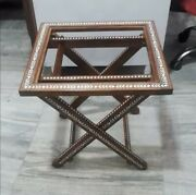 Handmade Indian Inlaid Folding Table Glass Top