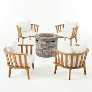 Darian Outdoor Acacia Wood 4 Seater Club Chairs And Fire Pit Set