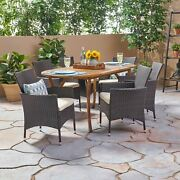 Edna Outdoor 7 Piece Acacia Wood And Wicker Dining Set, Teak With Multi Brown Ch