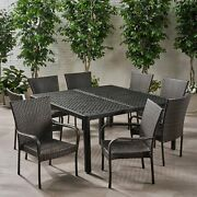 Lillian Outdoor Aluminum And Wicker 8 Seater Dining Set With Stacking Chairs