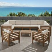 Emma Outdoor 11 Seater Acacia Wood Sectional Sofa And Club Chair Set