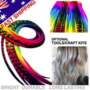 Rainbow Feather Hair Extensions 100 Real 10pack Super Long Tools Beads Craftkit
