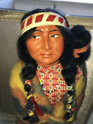Vintage Skookum Doll 1930s-40s Indian Mother And Baby 12 W/label
