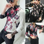 Mens Floral Blouse Tops Shirts Buttons Front Striped Slim Fit Nightclub Lapel