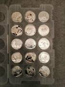 Silver Panda Set Of 15 Coins Pad Year 2005-2019 Lot 15 15 Pieces