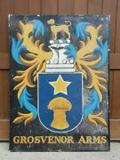 Vintage Grosvenor Arms Handpainted English Coat Of Arms Pub Sign W/hunting Dog