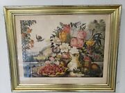 Landscape, Fruit And Flowers Hand Colored Lithograph F. F. Palmer Currier And Ives
