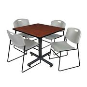 Kobe 36in. Square Breakroom Table- Cherry And 4 Zeng Stack Chairs- Grey