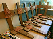 Vintage 14 Piece Stations Of The Cross Christian Church Rare Antique Set Wooden