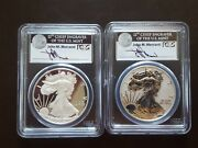 2012 S Silver Eagle Two Coin Proof Set Pcgs Pr70/pr70 Dcam - Mercanti Signed