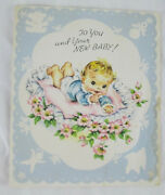 Vintage Greeting Card 1940s Flowers New Baby Scrapbook Crafting Upcycle Shower