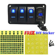 4 Gang Toggle Rocker Switch Panel With Usb For Car Boat Marine Rv Truck Blue Led