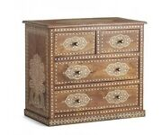 Indian Teck Wood Bone Inlay Floral Design Chest Of 4 Drawers Side Table Brown