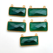 Gold Platted Silver Bazel Green Onyx Connector Gemstone Suppliers Finding