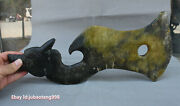 17 China Hongshan Culture Old Jade Carving Dragon Handle Axe Hatchet Weapon Arms