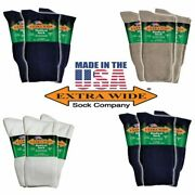 Extra Wide Socks 3-pack Medical Diabetic Microban Crew Big Menand039s Made In Usa