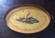 Large Oval Hand Painted Rustic Tray Toyo Designed By Lillian August