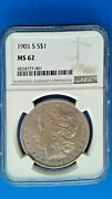 1901 S 1 Ngc Ms 62 - Better Date S-mint - Morgan Silver Dollar