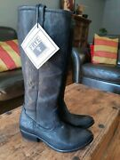 New Frye Carson Pull On Western Style Black Leather Boots Size 8 New