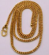 22k Yellow Gold Handmade Solid Wheat Chain Necklace 24 Inches Long Chain Ch217
