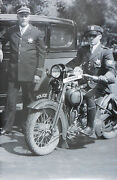 12 By 18 Black And White Picture Motorcycle Cops With Harley About 1932