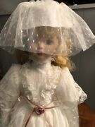 Crowne Porcelain Victorian Bride And Musical Baby Dolls - New